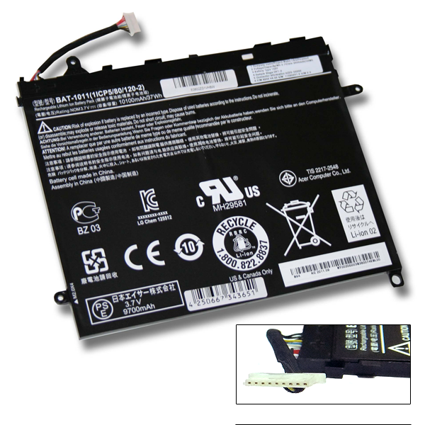 Аккумуляторная батарея ACER BAT-1011 1ICP5/80/120-2 (Напряжение: 3.7 вольта / 10100 мАч)