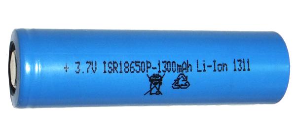 Аккумуляторный элемент LiIon 18650 3,7V 1,3 Ah силовой (химический состав: Li-Ion, напряжение: 3,7 вольта, емкость: 1300 мАч, размер: 18 х 650 мм, оболочка: пластик)