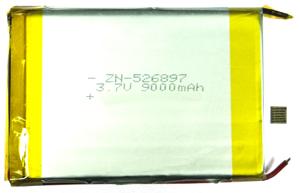 Аккумуляторный элемент литий полимерный LIPO cells ZH-526897-3,7v-9000mAh 9000мАч (химический состав: LiPo, напряжение: 3,7 вольта, емкость: 9000 мАч, размер: 11 х 68 х 97 мм, оболочка: пластик)