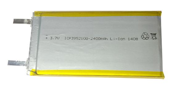 Аккумуляторный элемент литий полимерный  LIPO ICP3952100 3.7v 2400mAh 3.9х52х100 мм (химический состав: LiPo, напряжение: 3,7 вольта, емкость: 2400 мАч, размер: 3,9 x 52 х 100 мм, оболочка: пластик )