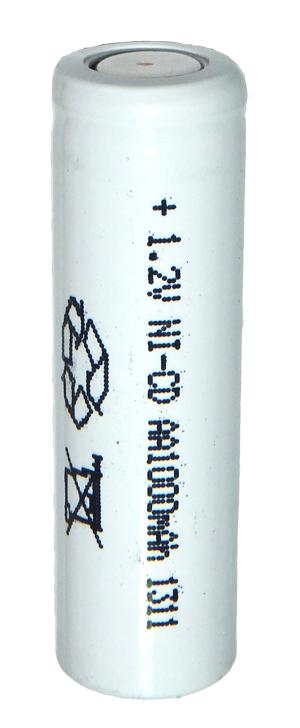 Аккумуляторный элемент NiCD AA 1,2В 1,0 Ач (химический состав: NiCd, напряжение: 1,2 вольта, емкость: 1000 мАч, размер: мм, оболочка: пластик)