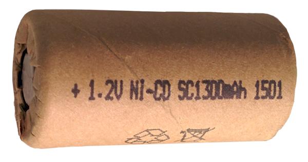 Аккумуляторный элемент NiCd SC 1,2В 1,3 Ач (химический состав: NiCd, напряжение: 1,2 вольта, емкость: 1300 мАч, размер: SC 23 х 43 мм, оболочка: картон)