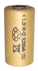 Аккумуляторный элемент NiCd SC 1,2В 2,0 Ач (химический состав: NiCd, напряжение: 1,2 вольта, емкость: 2000 мАч, размер: SC 23 х 43 мм, оболочка: картон)