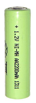 Аккумуляторный элемент NiMH AA 1,2В 2,2 Ач (химический состав: NiMh, напряжение: 1,2 вольта, емкость: 2200 мАч, размер: AA 50x14,2 мм, оболочка: пластик)