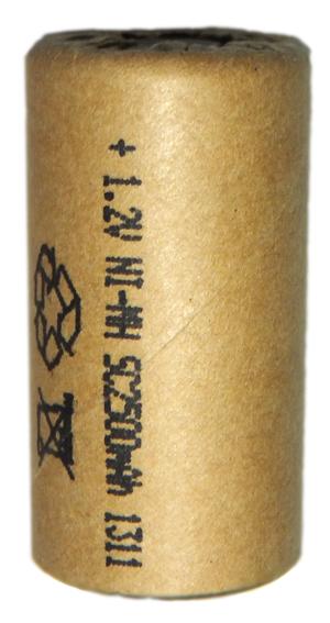 Аккумуляторный элемент NiMh SC 1,2В 2,5 Ач (химический состав: NiMh, напряжение: 1,2 вольта, емкость: 2500 мАч, размер: SC 23 х 43 мм, оболочка: картон)