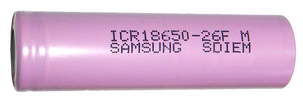 Аккумуляторный элемент Samsung ICR18650-26 серии ( Li-Ion/ Номинальное напряжение: 3,7 вольта/ Емкость: 2600 мАч/ Напряжение заряда: 4,2 В/ Нижний порог разряда: 2,75В/ Токоотдача: 5,2А/ Размер: 18 х 650 мм, оболочка: пластик)